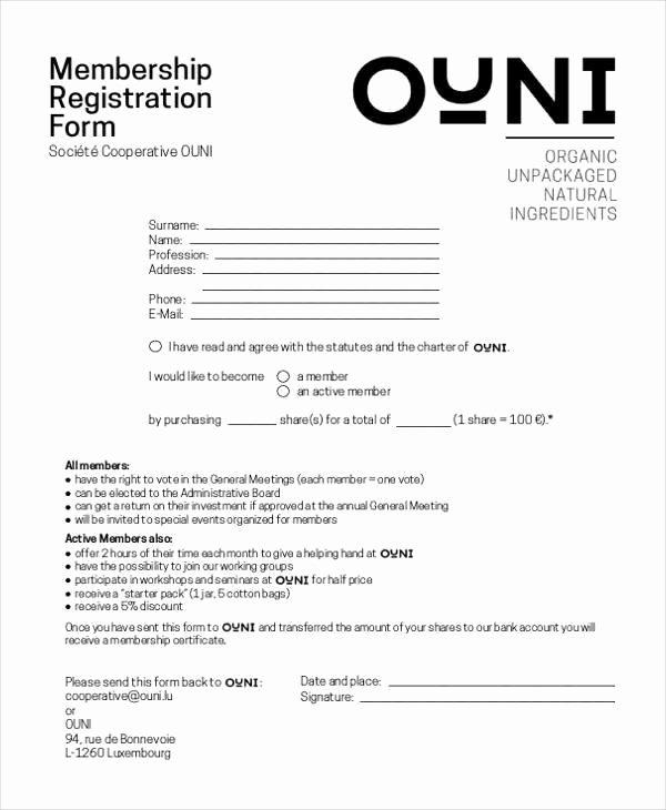 Sample Membership Application Beautiful Sample Membership Registration forms 7 Free Documents