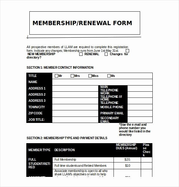Sample Membership Application Best Of 15 Membership Application Templates – Free Sample