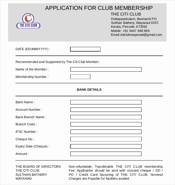 Sample Membership Application Best Of 15 Sample Club Application Templates Pdf Doc