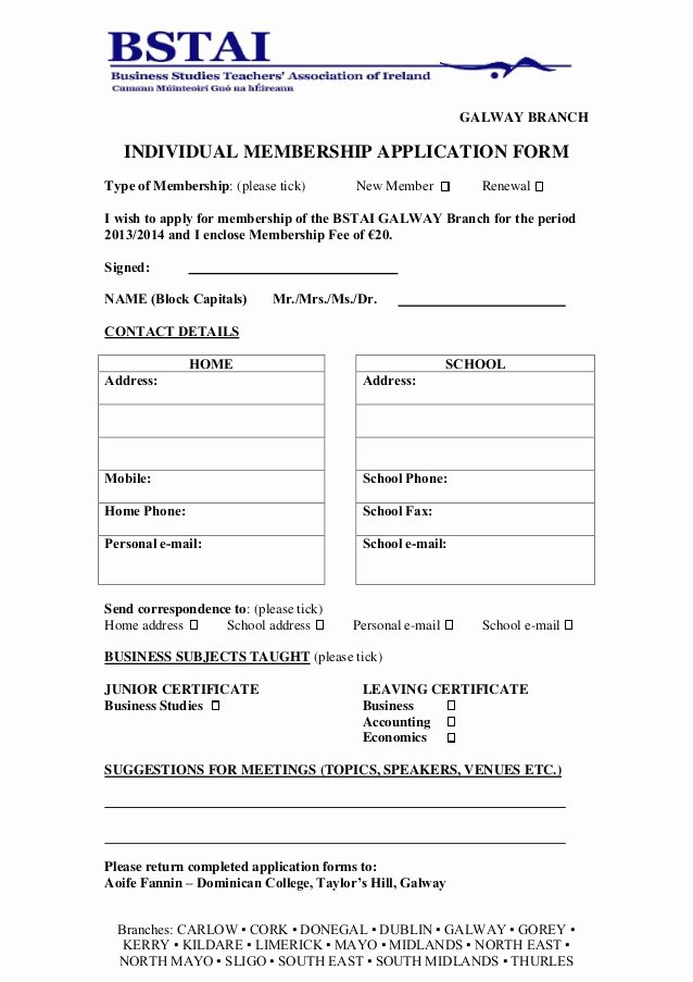 Sample Membership Application Fresh Membership Application form 2013 2014 Galway1