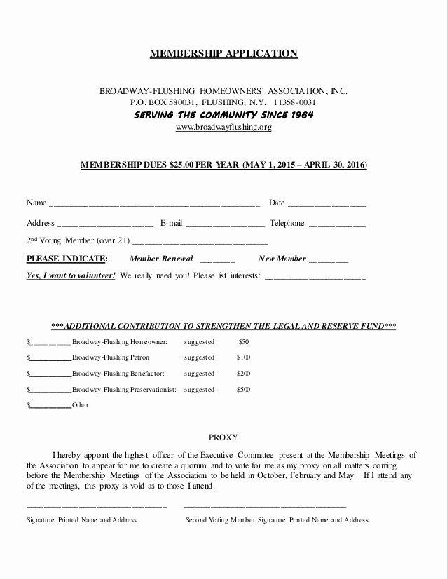 Sample Membership Application New Membership Application