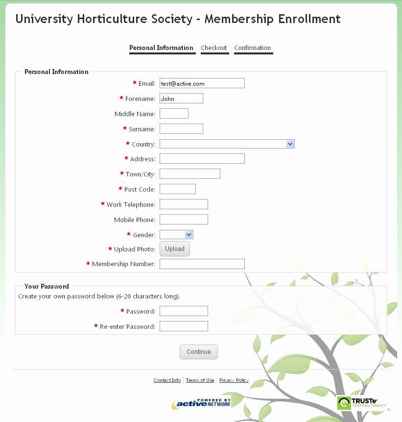 Sample Membership Application New Sample Membership form Create An Line Membership form