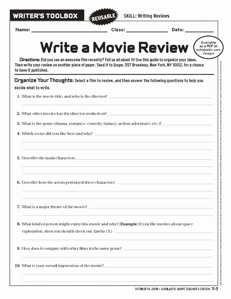Sample Movie Review Essay Awesome Write A Movie Review Worksheet for 6th 10th Grade