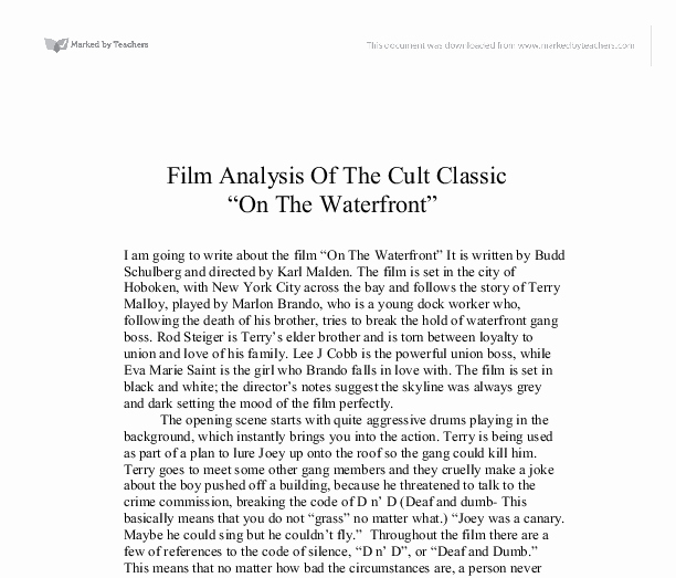 """Sample Movie Review Essay Inspirational Analysis the Cult Classic """" the Waterfront"""