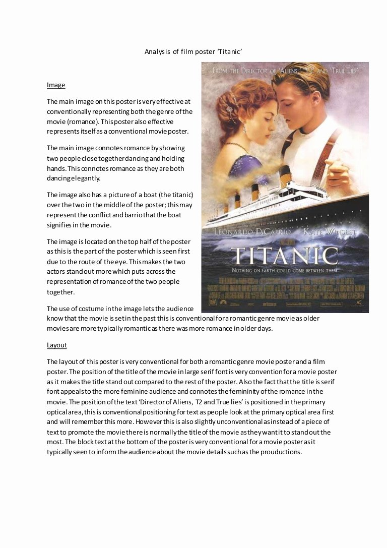 Sample Movie Review Essay Lovely Analysis Of Film Poster Titanic