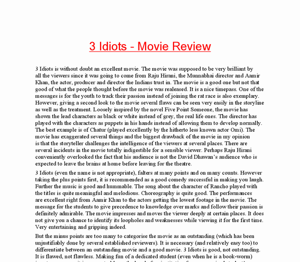Sample Movie Review Essay New 3 Idiots Movie Analysis Essay assignment Secure Custom