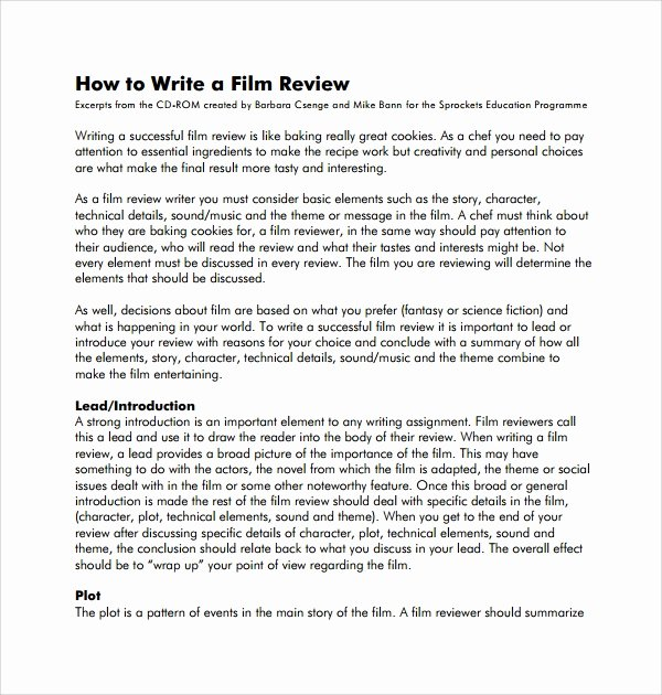 Sample Movie Review Essay Unique 9 Review Templates