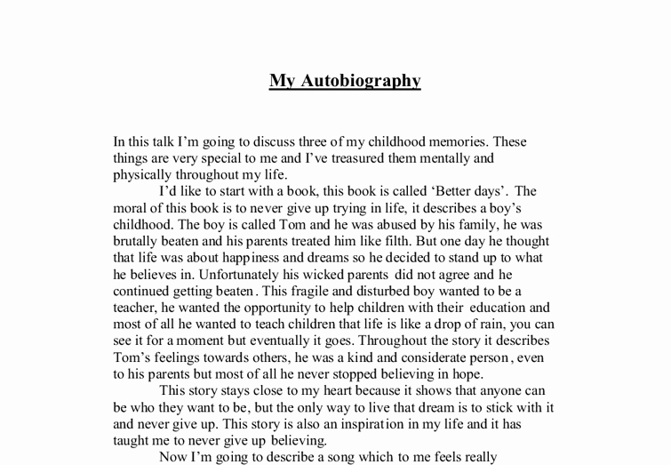 Sample Of Biographical Essay Elegant My Autobiography A Level Media Stu S Marked by
