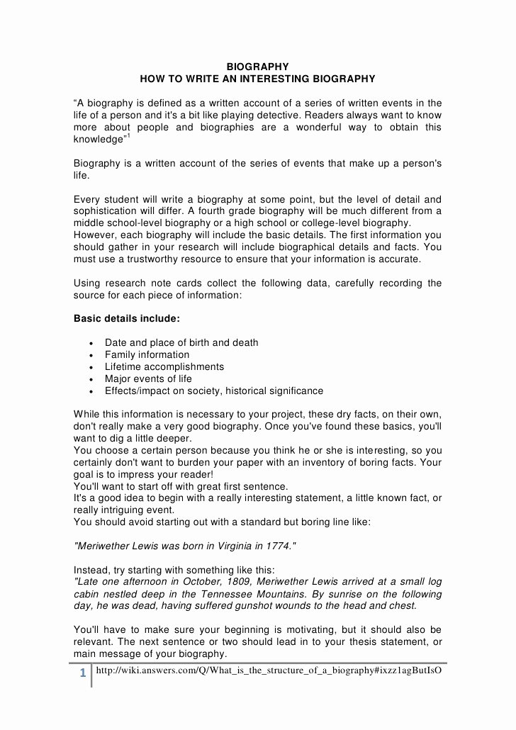 Sample Of Biographical Essay Fresh How to Write A Biography