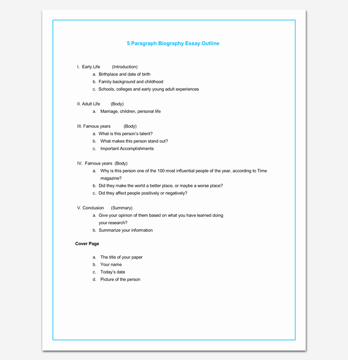 Sample Of Biographical Essay Lovely Biography Outline Template 15 formats Samples and Examples