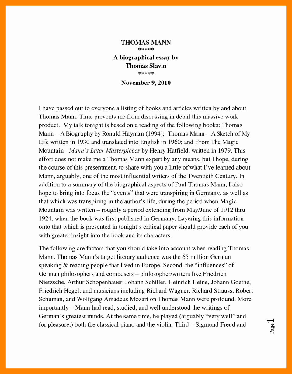 Sample Of Biographical Essay Luxury Biographical Sketch Example for Students and format with