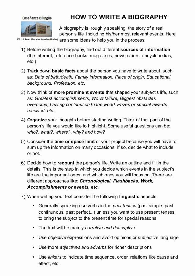 Sample Of Biographical Essay Unique How to Write A Biography