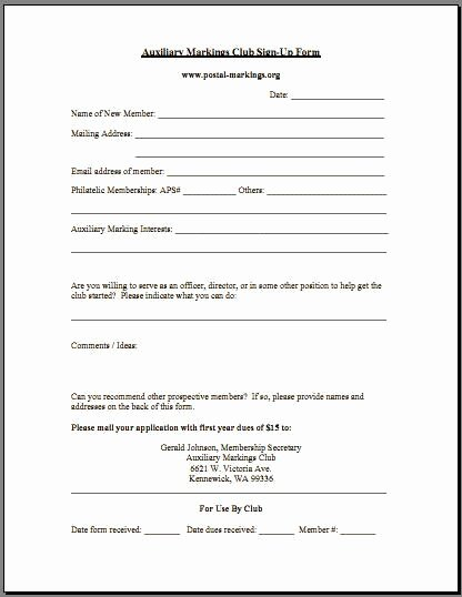 Sample Of Membership form for An organization Elegant Auxiliary Markings Club Postal Markings org