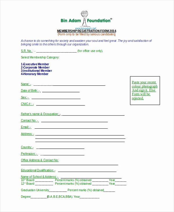 Sample Of Membership form for An organization Elegant Sample Ngo Registration form 8 Free Documents In Word Pdf