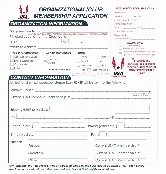 Sample Of Membership form for An organization Fresh 15 Sample Club Application Templates Pdf Doc