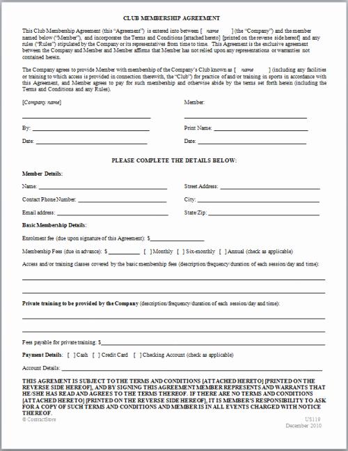 Sample Of Membership form for An organization Fresh Membership Agreement