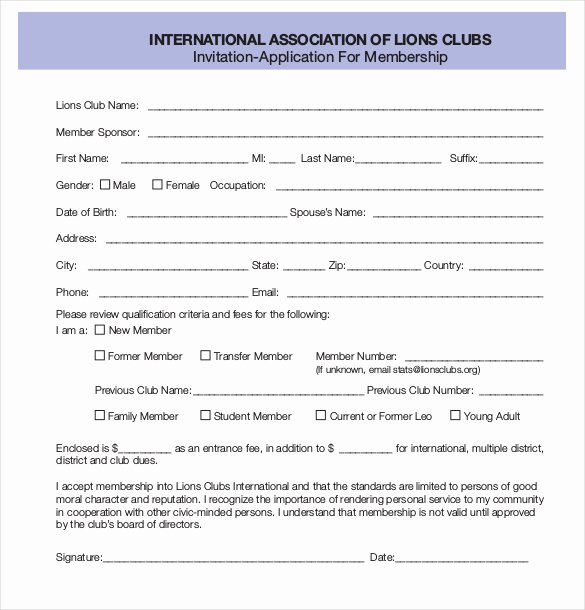 Sample Of Membership form for An organization Inspirational 30 Of organization Membership Application Template