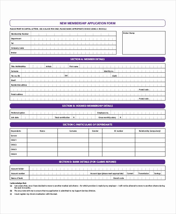 Sample Of Membership form for An organization Inspirational 66 Basic Application forms