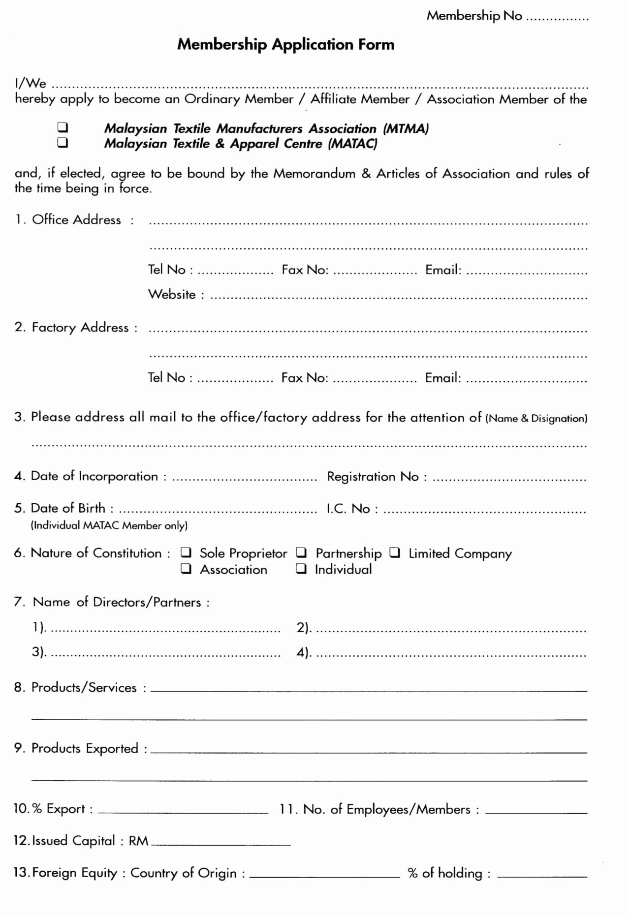 Sample Of Membership form for An organization Lovely association Membership Application form Template