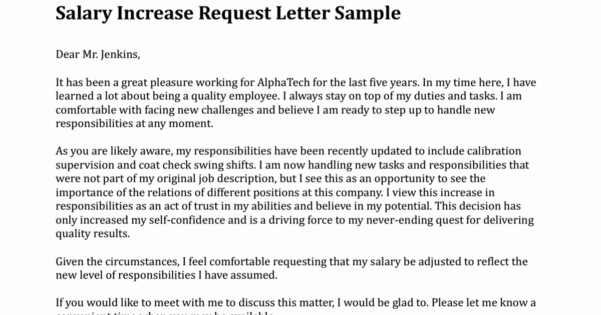 Sample Pay Increase Letter to Employee Awesome Salary Increase Request Letter Sample Pdf Google Drive