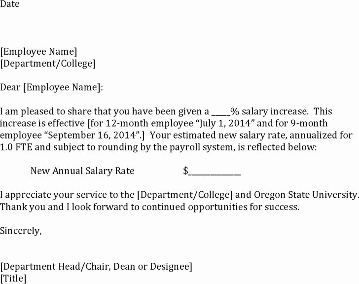 Sample Pay Increase Letter to Employee Beautiful Salary Increase Letter Sample Pdf