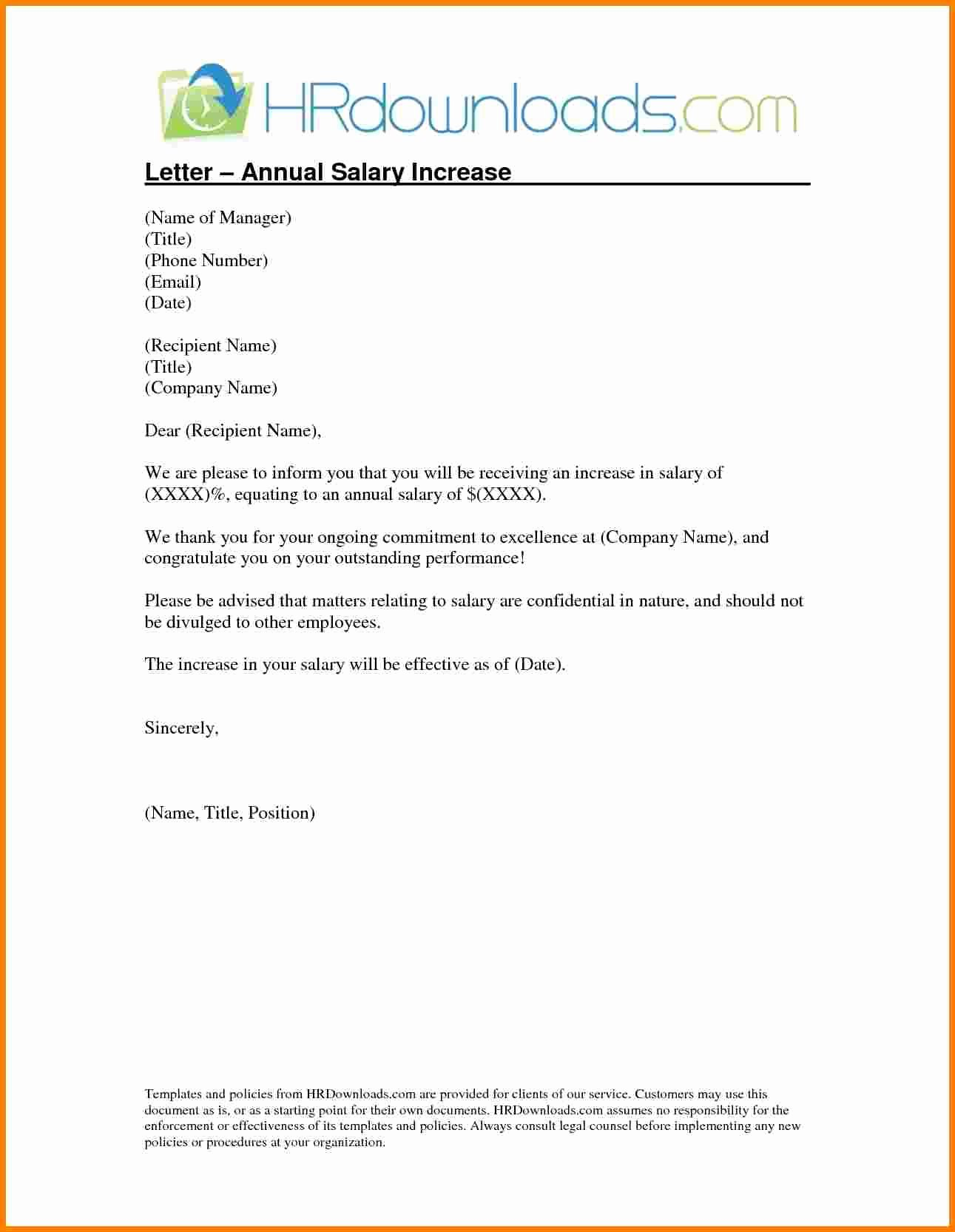 Sample Pay Increase Letter to Employee Elegant 8 Sample Salary Increase Letter to Employer