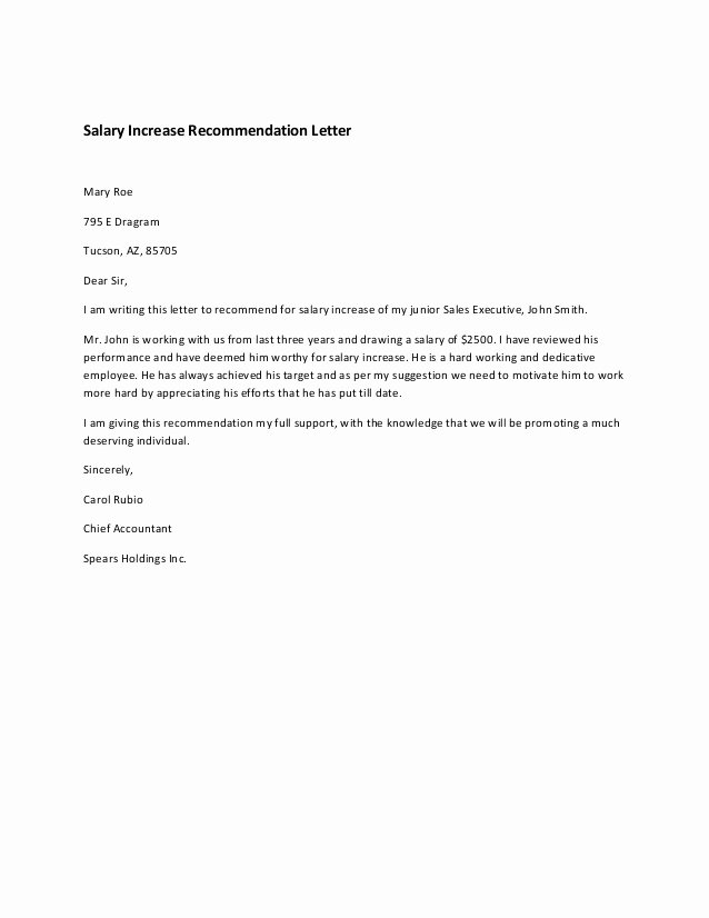 Sample Pay Increase Letter to Employee Elegant Salary Increase Re Mendation Letter