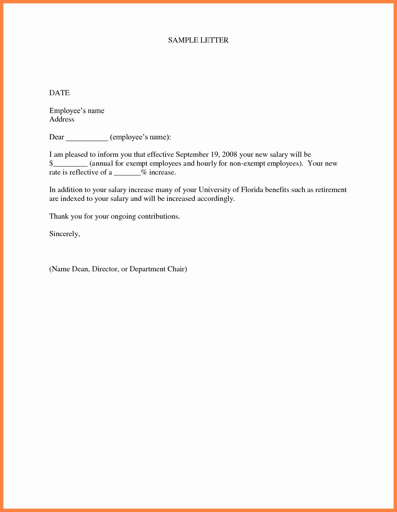 Sample Pay Increase Letter to Employee Inspirational 5 Sample Salary Increase Letter to Employer