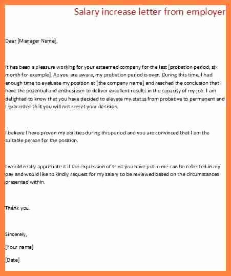 Sample Pay Increase Letter to Employee Lovely 6 Salary Letter From Employer