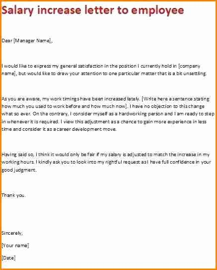 Sample Pay Increase Letter to Employee Lovely 7 Sample Salary Increase Proposal Letter