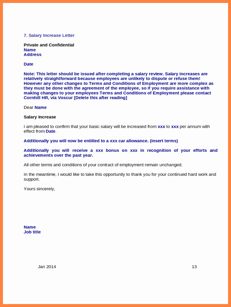 Sample Pay Increase Letter to Employee Luxury 9 Salary Increase Letter Sample for Employees