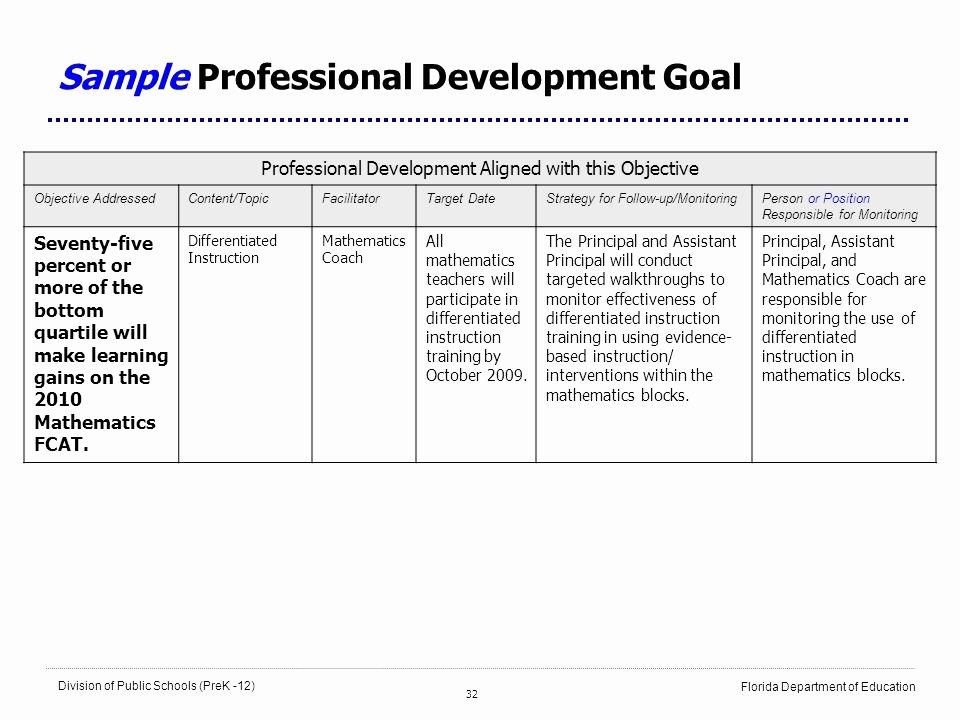 Sample Professional Development Plan Elegant School Improvement Plans Leading the School Improvement