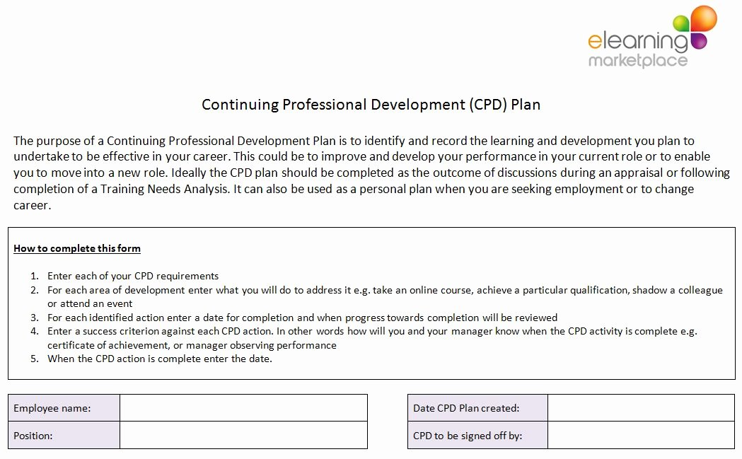 Sample Professional Development Plan Luxury Free Cpd Resources Free Downloads