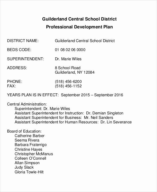 Sample Professional Development Plan Luxury Professional Development Plan Sample 13 Examples In