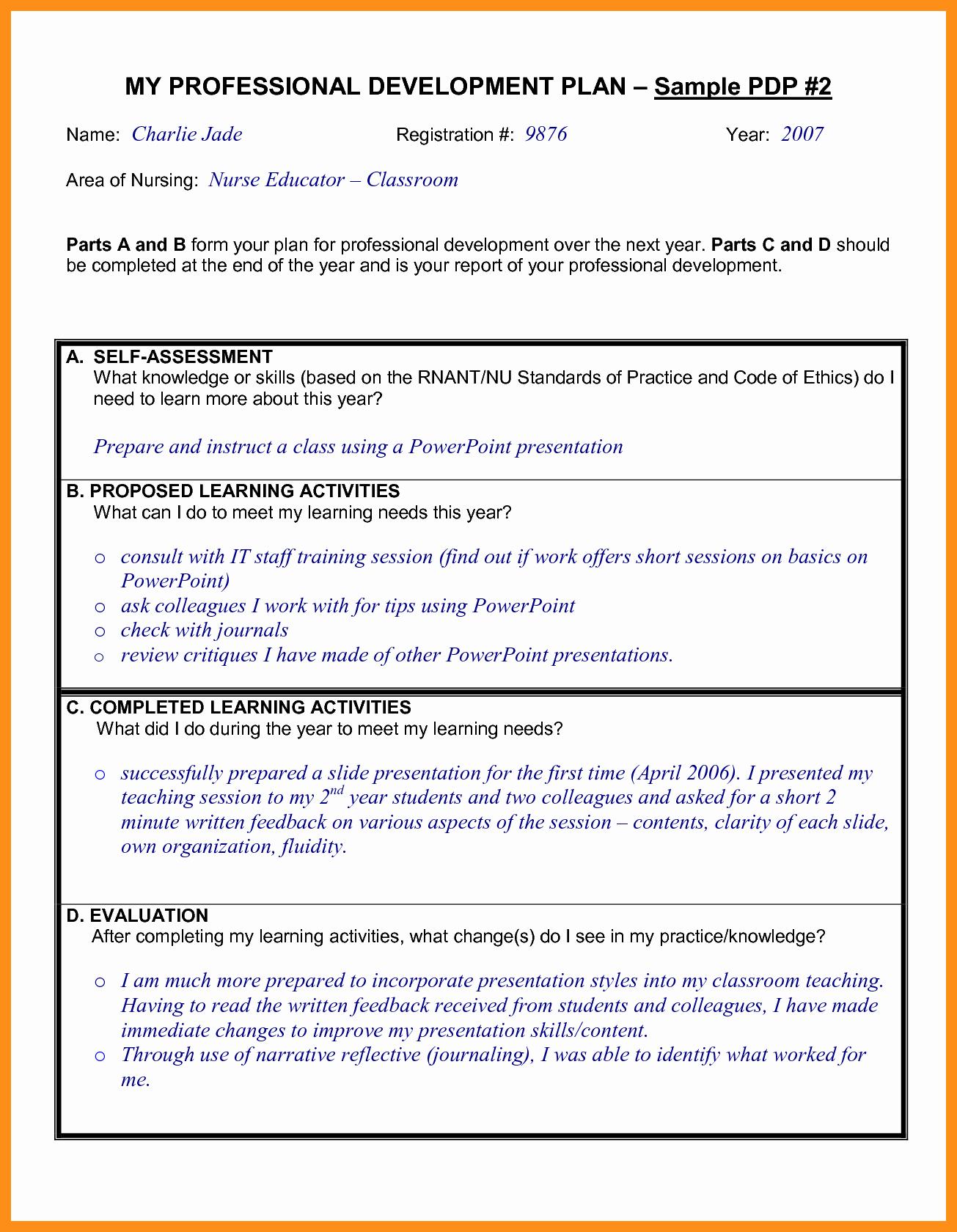 Sample Professional Development Plan New 9 10 Professional Development Plans Examples