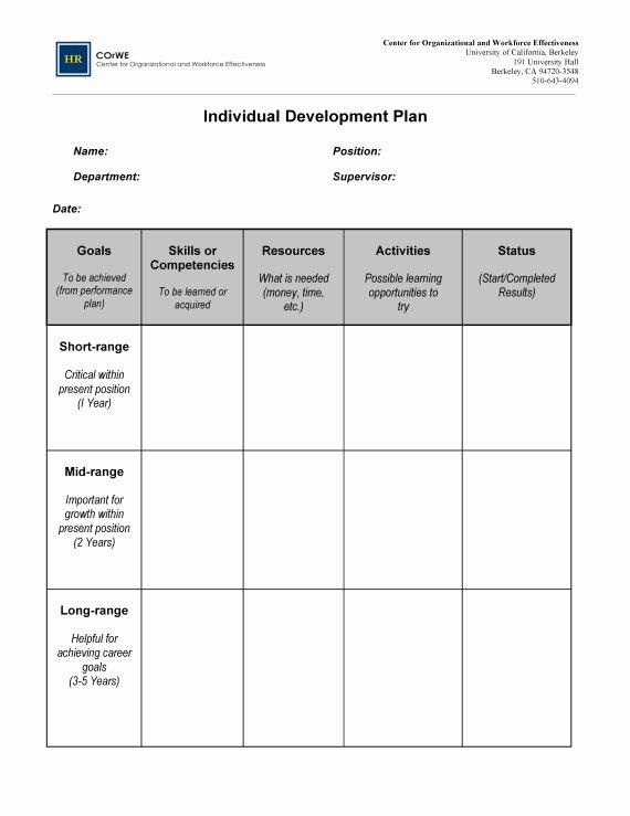 Sample Professional Development Plan New Employee Career Development Plan Template