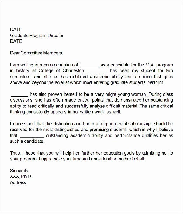 Sample Recommendation Letter for College Admission From Friend Awesome Sample Letter Of Re Mendation for Graduate School From