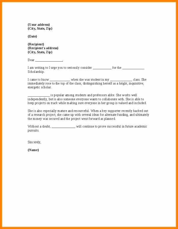 Sample Recommendation Letter for College Admission From Friend Beautiful Scholarship Re Mendation Letter