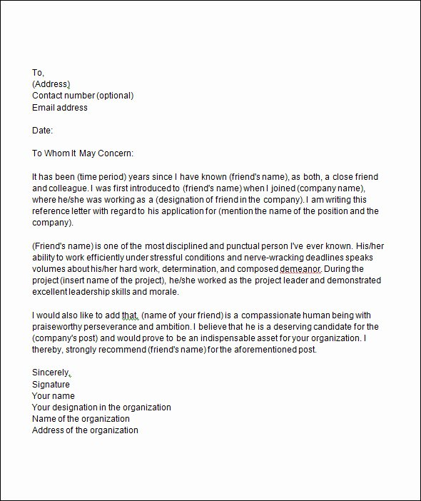 Sample Recommendation Letter for College Admission From Friend Best Of 18 College Re Mendation Letters Pdf Word