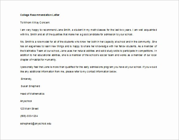 Sample Recommendation Letter for College Admission From Friend Fresh Re Mendation Letter for Student From Teacher Sample