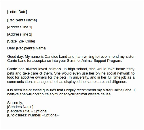 Sample Recommendation Letter for College Admission From Friend Unique Letters Of Re Mendation 17 Free Documents In Doc