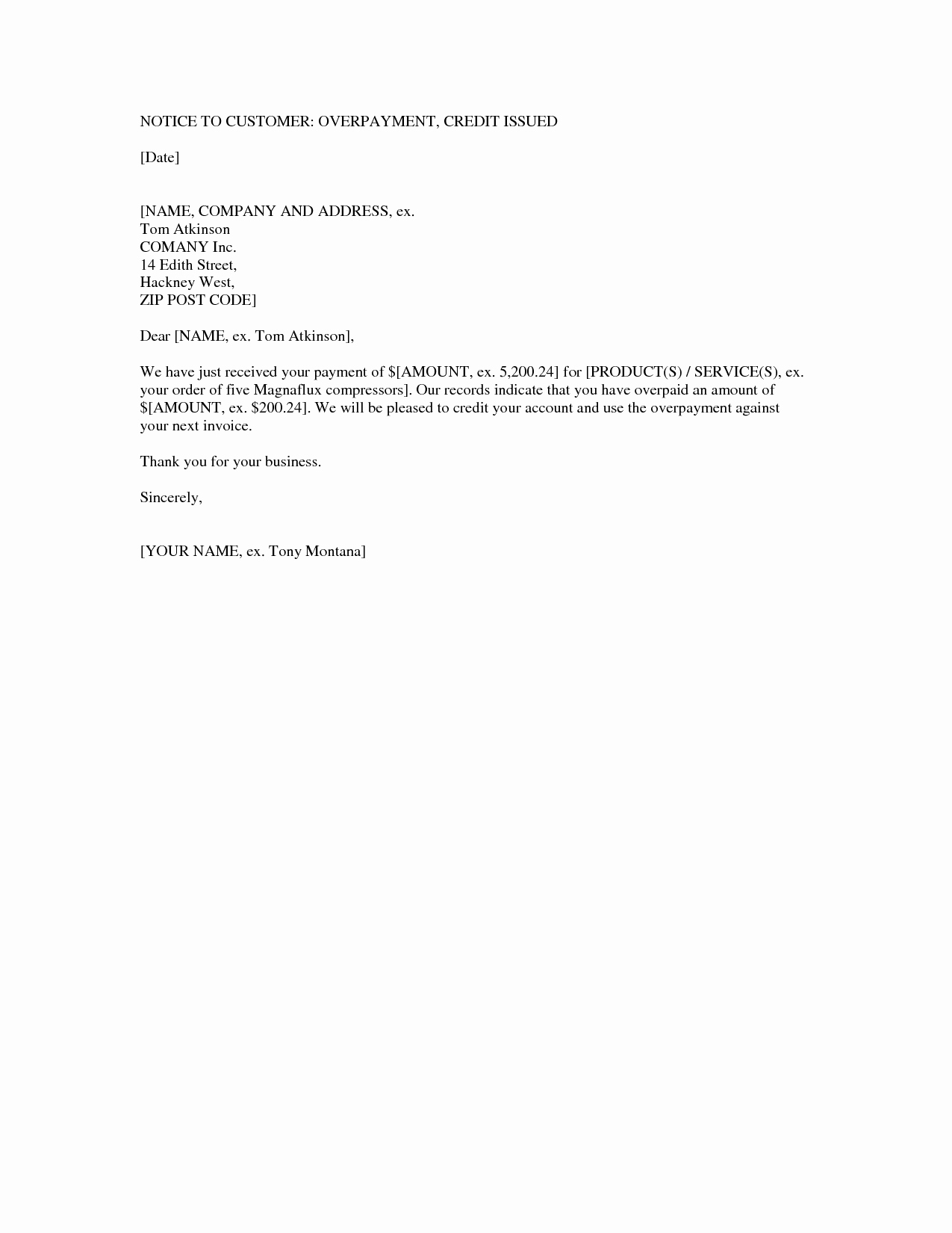 Sample Refund Letter to Customer Lovely Best S Of Overpayment Notification Letter Sample