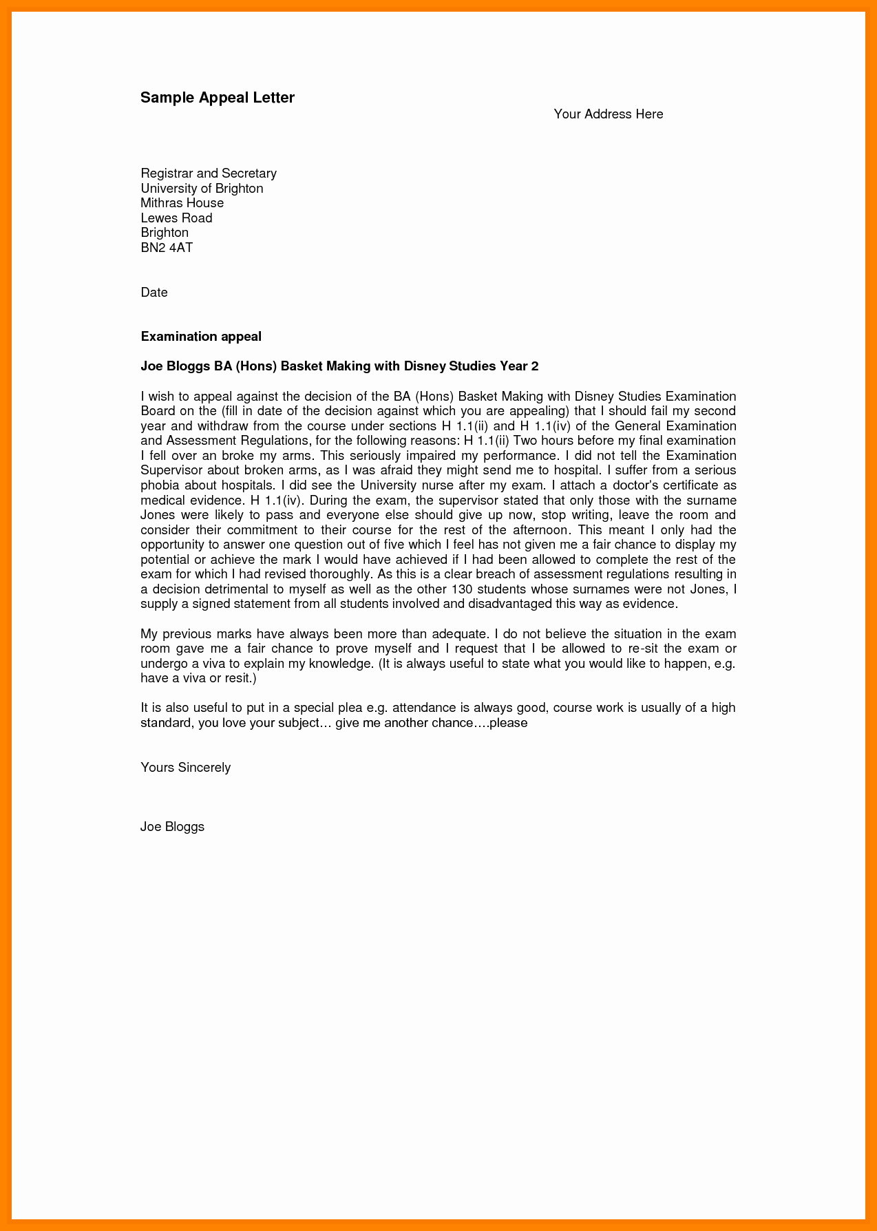 Sample Sap Appeal Letter Elegant 7 Sap Appeal Letter Example