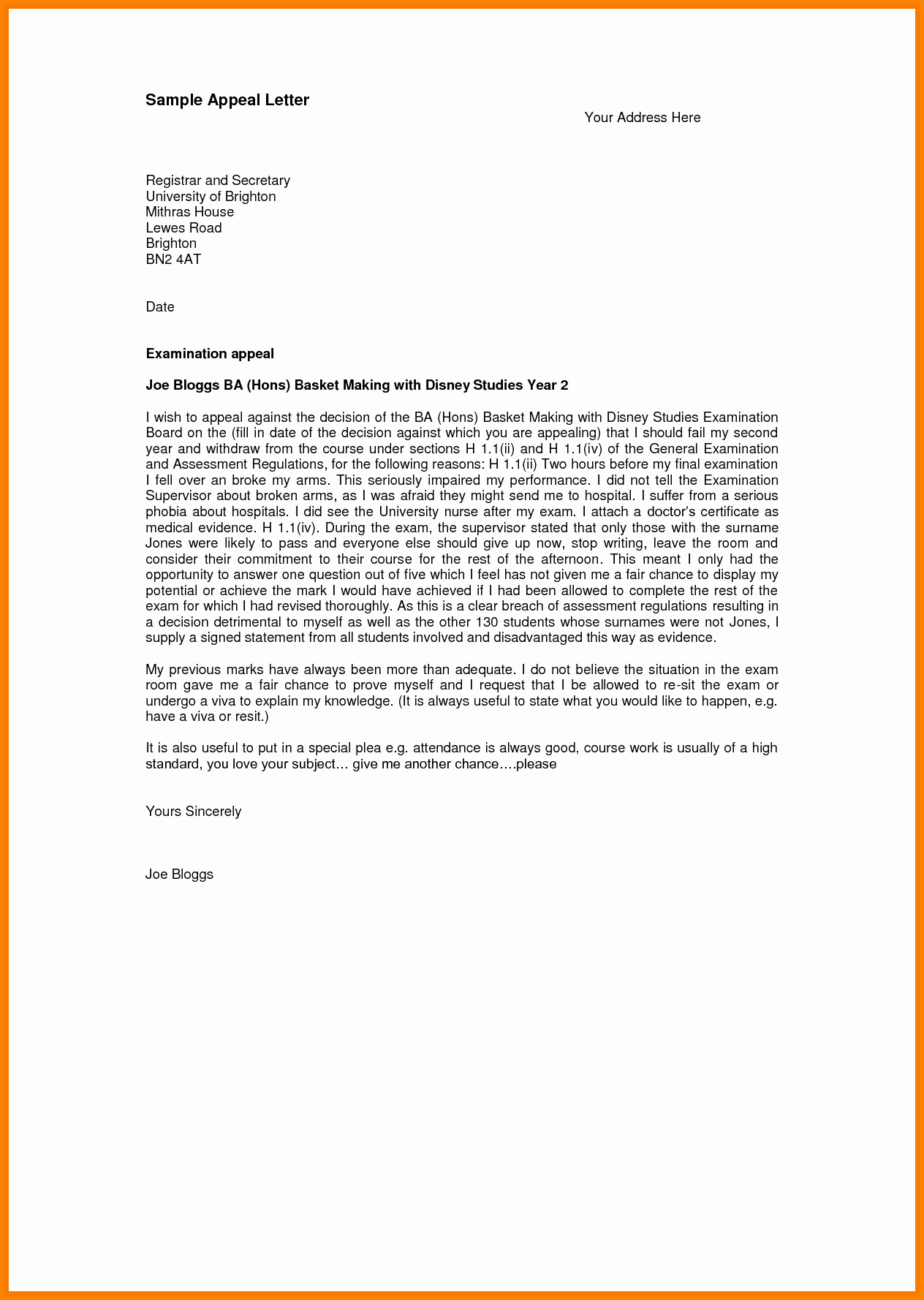Sample Sap Appeal Letter Inspirational 12 Sap Appeal Letter Template