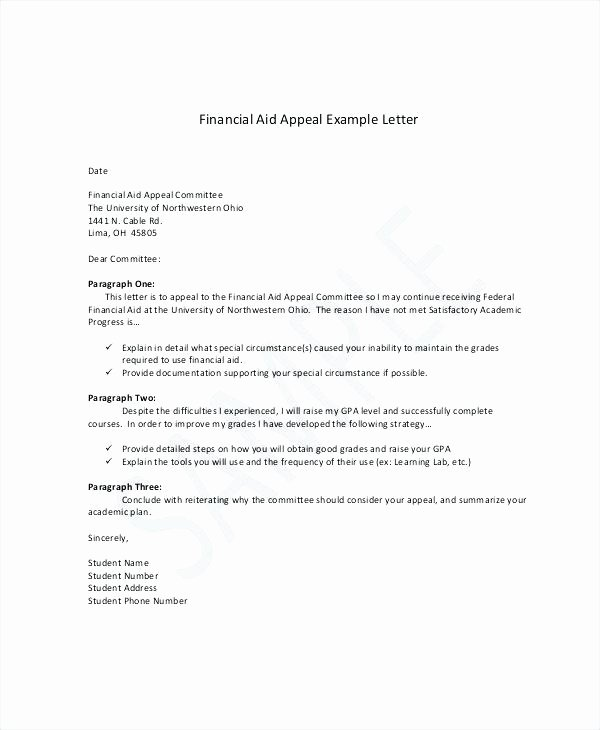 Sample Sap Appeal Letter Luxury Sample Sap Appeal Letter for Financial Aid