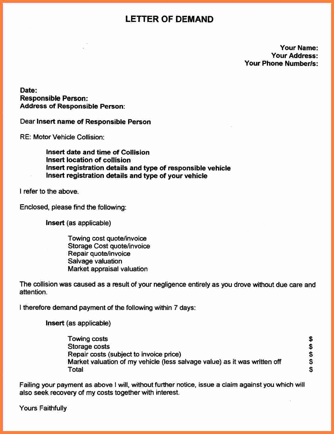 Sample Settlement Letter for Car Accident Best Of 29 Of Settlement Demand Letter Template