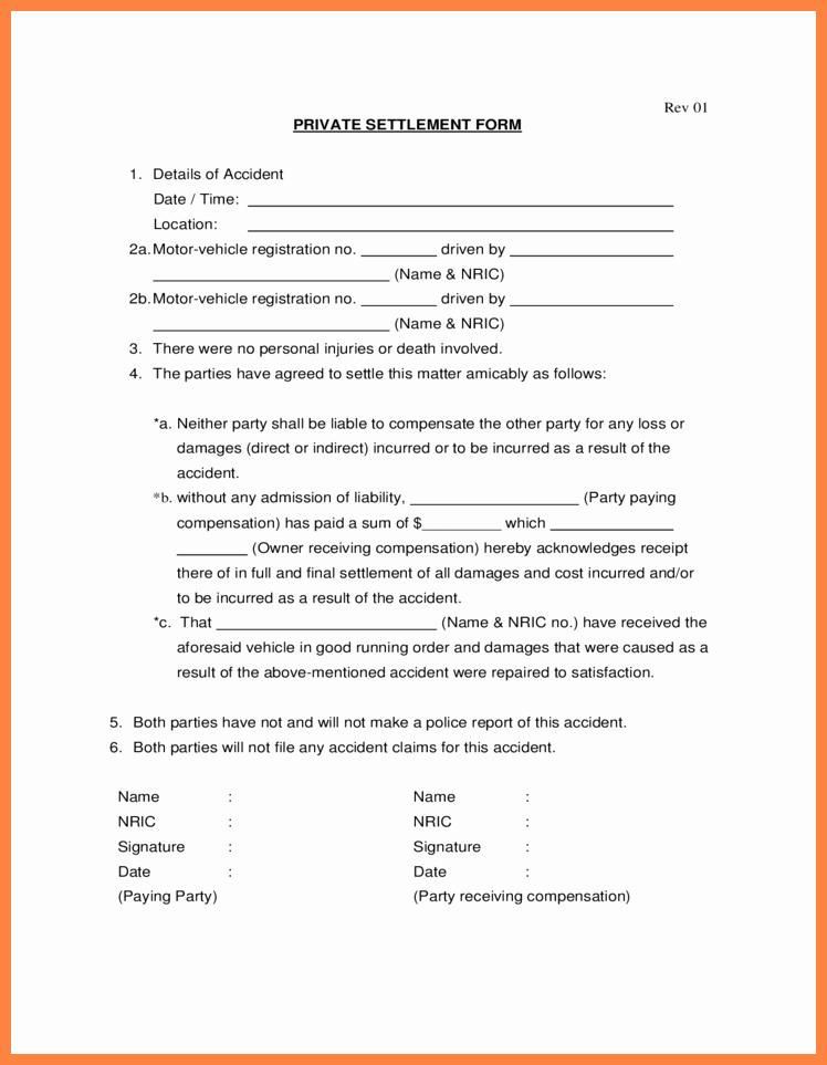 Sample Settlement Letter for Car Accident Inspirational Car Accident Settlement Agreement