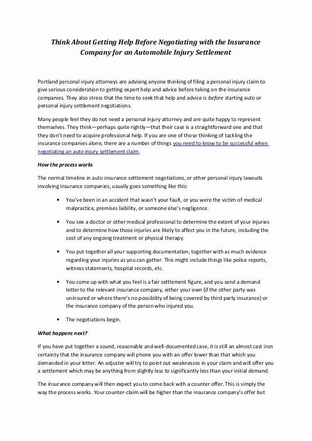 Sample Settlement Letter for Car Accident Lovely Negotiating Your Own Settlement with the Auto Insurance