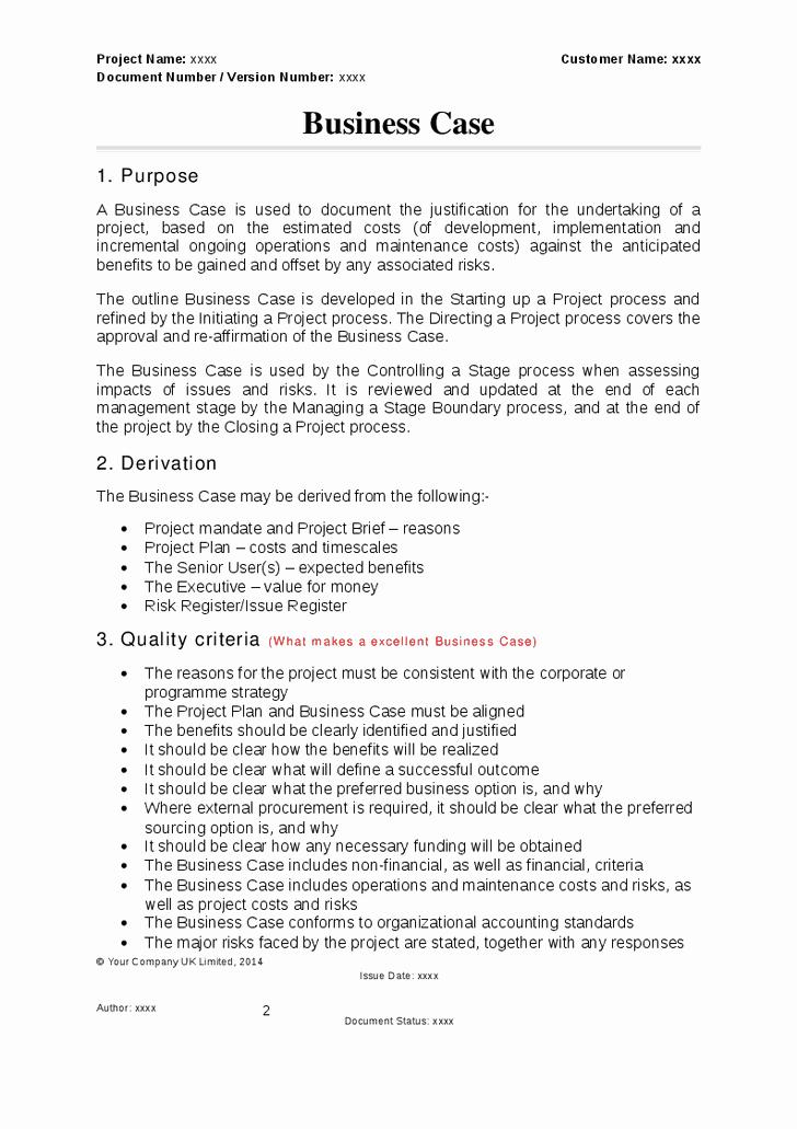 Sample Use Case Document Fresh Prince2 Business Case Template School Stuff