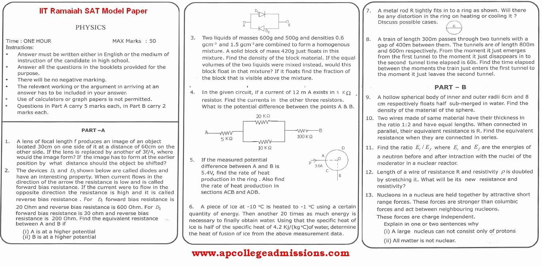 Sat Essay Paper Pdf Unique Iit Ramaiah Sat Question Papers Model Exam 29th April 2012